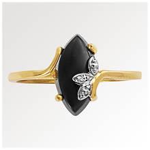 Women's 10K Onyx and Diamond Ring