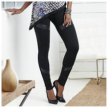 Faux Leather Inset Legging