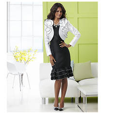 Stacy Adams Ruffled Jacket Dress