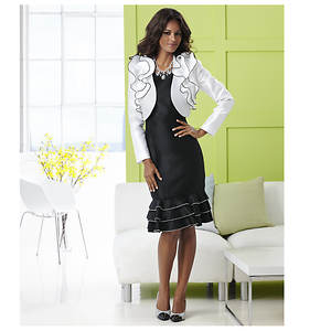 Stacy Adams Ruffled Jacket Dress