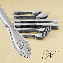 Rose Monogrammed 46-Piece Flatware Set