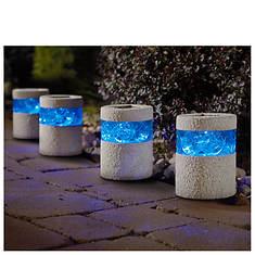 Set of 4 Blue/Stone Solar Lights