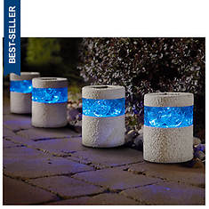 Set of 4 Blue/Stone Solar Lights