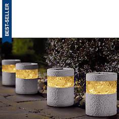 Set of 4 Stone Solar Lights
