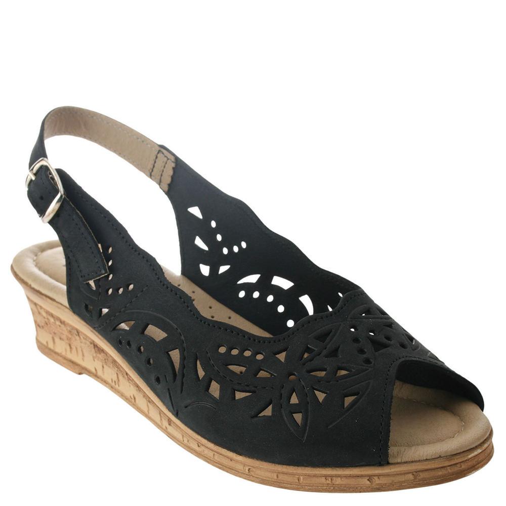 1940s Style Shoes, 40s Shoes Spring Step Orella Womens Black Sandal Euro 40 US 9 M $59.95 AT vintagedancer.com