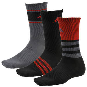 adidas Men's Cushioned Assorted Color 3-Pack Crew Socks