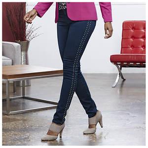 Studded Dark Wash Skinny Jeans
