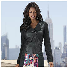 Knit and Faux Leather Moto Jacket