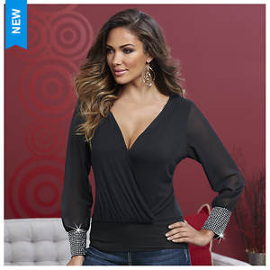 Sheer Sleeve Crossover Top