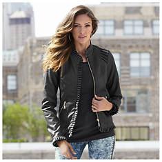 Ruffle Faux Leather Jacket