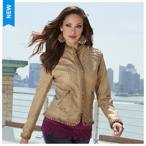 Ruffle Faux Leather Jacket
