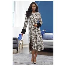 Fur-Trimmed Leopard Jacket Dress