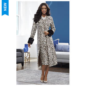 Fur-Trimmed Leopard Jacket Dress