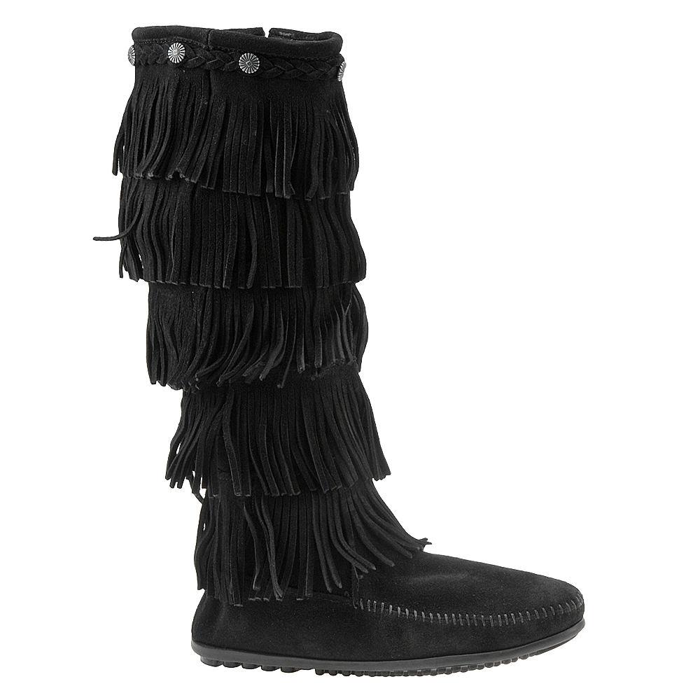 Vintage Boots- Buy Winter Retro Boots Minnetonka 5-Layer Fringe Womens Black Boot 8 M $99.95 AT vintagedancer.com