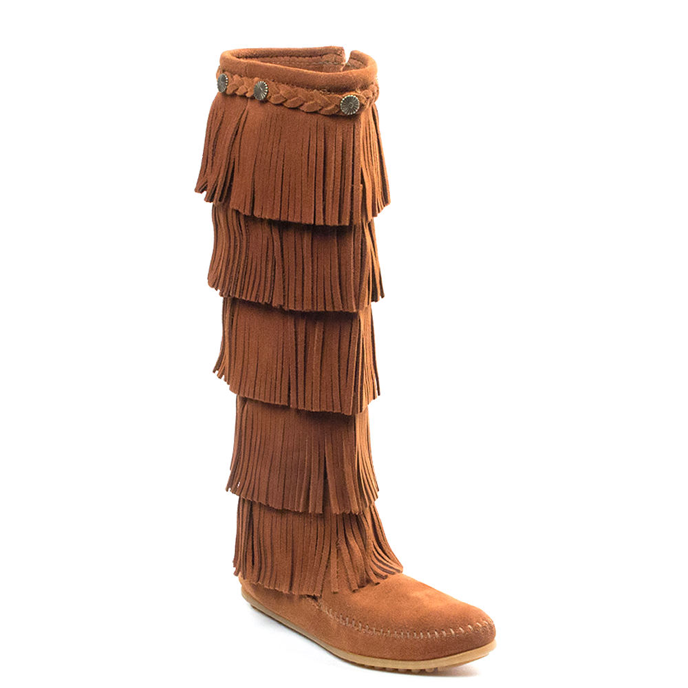 Vintage Boots- Buy Winter Retro Boots Minnetonka 5-Layer Fringe Womens Brown Boot 7 M $99.95 AT vintagedancer.com