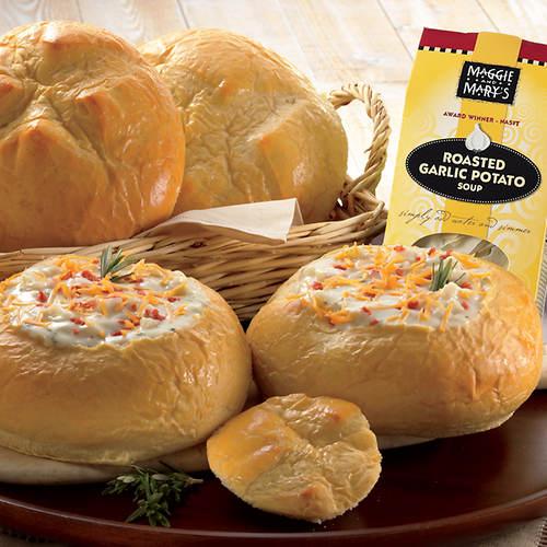 Garlic Potato Soup & Sourdough Bread Bowls