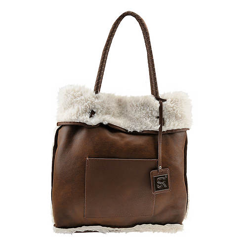 SR Squared By Sondra Roberts Reversible Faux Shearling Tote Bag
