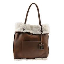 SR Squared By Sondra Roberts Reversible Faux Shearling Tote Bag