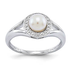 Women's Sterling Silver Diamond and Birthstone Ring