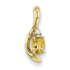 14K Diamond and Birthstone Pendant