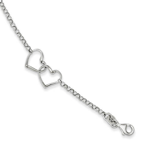 Women 39 s sterling silver rhodium plated heart bracelet for Jewelry monthly payments no credit check