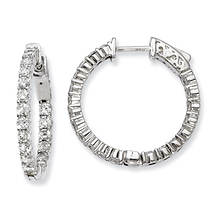 Women's Sterling Silver CZ 40 Stones In & Out Hoop Earrings