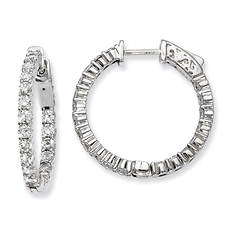 Women's Sterling Silver CZ 40 Stones In & Out Hoop Earrings
