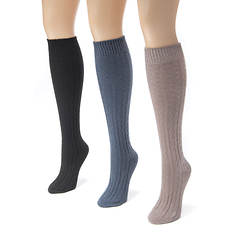 MUK LUKS 3 Pair Cable Knee High Sock (Women's)