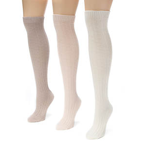 MUK LUKS 3 Pair Cable Knee High Sock (Women's)