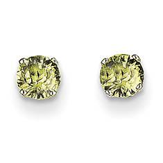 14K White Gold 4mm Birthstone Stud Earrings