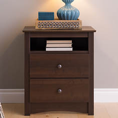 Tall 2-Drawer Nightstand with Open Shelf