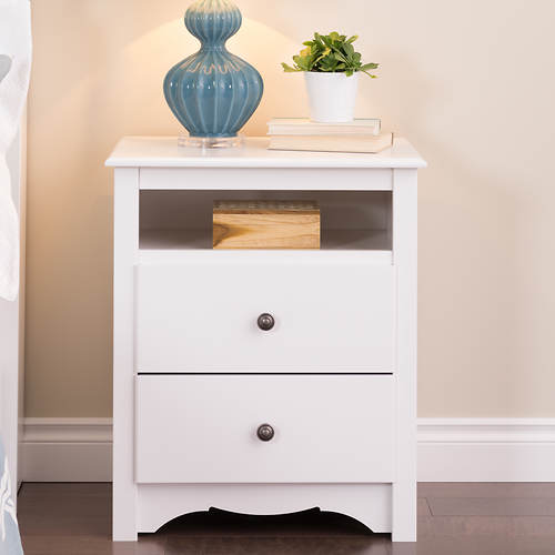tall 2 drawer nightstand with open shelf stoneberry. Black Bedroom Furniture Sets. Home Design Ideas