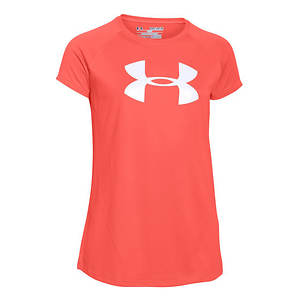 Under Armour Girls' Solid Big Logo SS Tee
