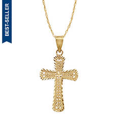 10K Filigree Cross Necklace