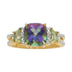 Mystic Fire Topaz/Peridot/Diamond Ring