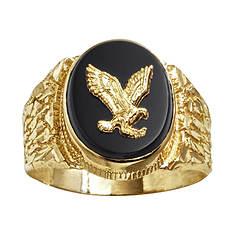 Men's 10K Onyx Eagle Ring