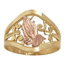 10K Praying Hands Ring