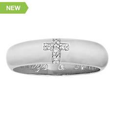 Men's or Women's Always & Forever Sterling Silver/CZ Cross Ring
