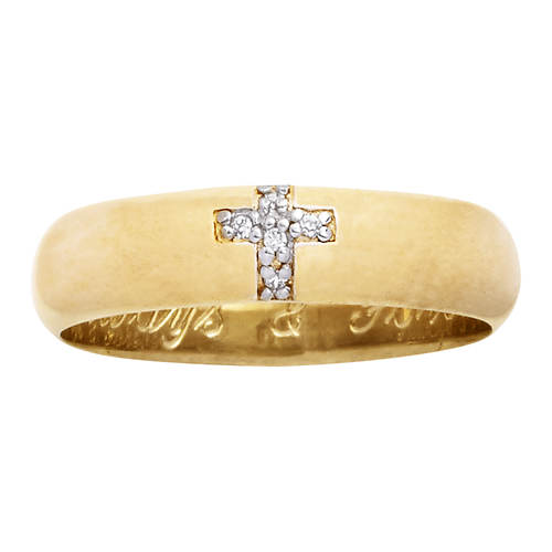 Men's or Women's Always & Forever 14K Gold-Plated Sterling Silver/CZ Cross Ring
