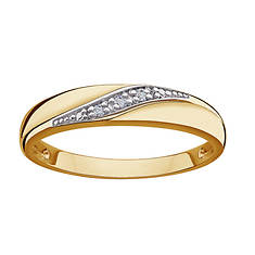 14K Gold-Plated Sterling Silver Diamond Wedding Band