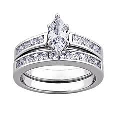 Sterling Silver Marquise-Cut CZ Women's Wedding Set