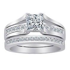 Rhodium-Plated Square CZ 2-Piece Wedding Set