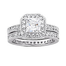 Rhodium-Plated CZ and Crystal Vintage Women's Wedding Set