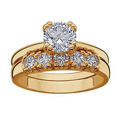 14K Gold-Plated CZ Solitaire Women's Wedding Set