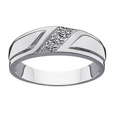 Platinum-Plated Sterling Silver Diamond Wedding Band