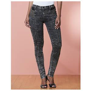 Black Acid Wash Skinny Jean