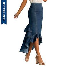 Flounced Denim Skirt