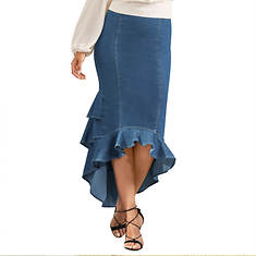 Flounced Denim Skirt