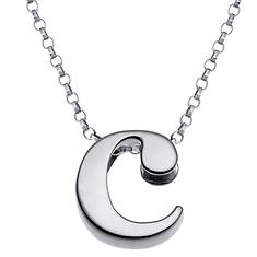 Sterling Silver Initial Pendant Necklace