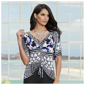 Tie-Front Printed Top